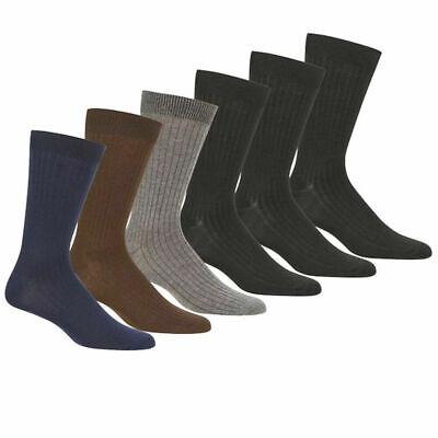 6 Pairs Knocker Men's Cotton Blend Multi Colors Ribbed Dress Socks size 10-13 ()