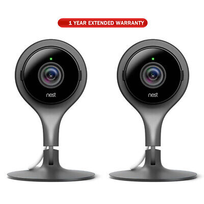 Google Nest Cam Indoor Security Camera 2 Pack + 1 Year Extended Warranty