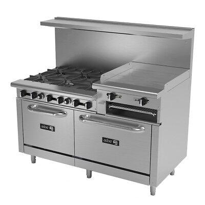 Asber 60 Gas 6 Burner Restaurant Range W 2 Standard Ovens