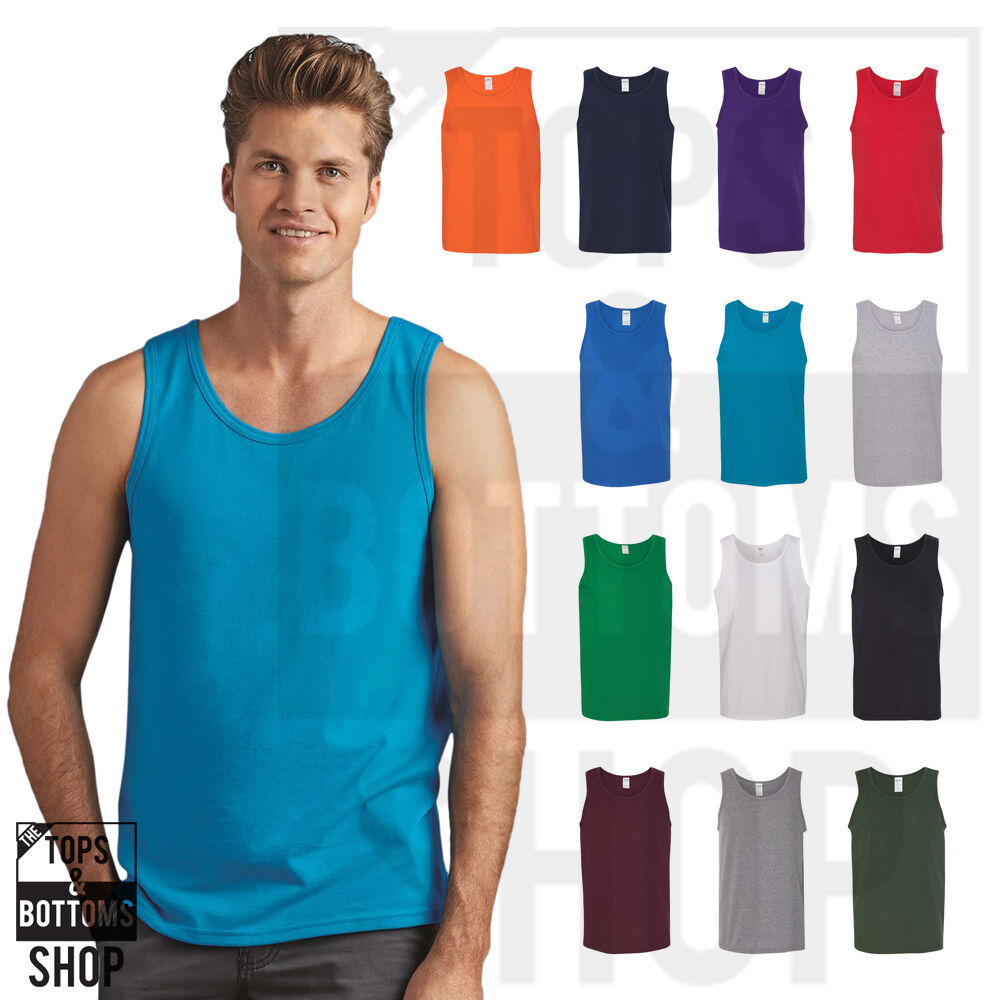 9fc1172c55ead Details about Gildan Mens Heavy Cotton Tank Top T-Shirt Plain Tee Muscle  Gym Sleeveless - 5200