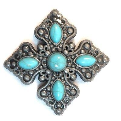 Conchos Cross Turquoise Stone Concho CON402K