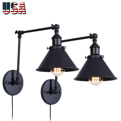 Set of 2 Balck Wrought Iron Wall Light Plug in Cord with On Off Switch Swing Arm 2 Arm Wall Light