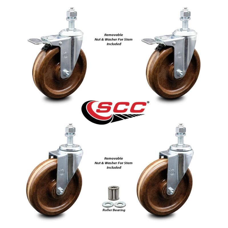 "High Temp Phenolic Swvl TS Caster Set 4 w/RB - 6"" Wheel&1/2"" Stems - 2 w/TTL BRK"