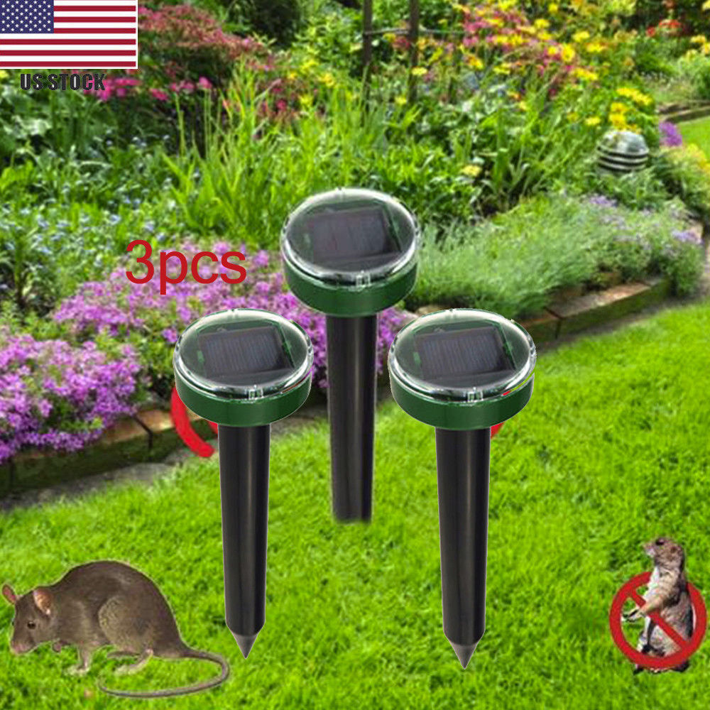 3 pc Solar Ultrasonic Snake Mouse Repellers Pest Rodent Repe