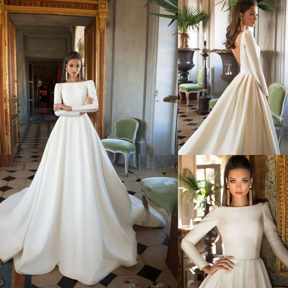Details About Satin Bridal Dresses White Ivory Long Sleeve Boat Neck A Line Wedding Ball Gowns