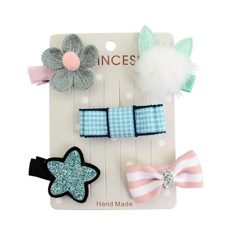 5PCS Cute Hairpin Baby Girl Hair Clip Bow Flower Mini Barrettes Star Kids Infant