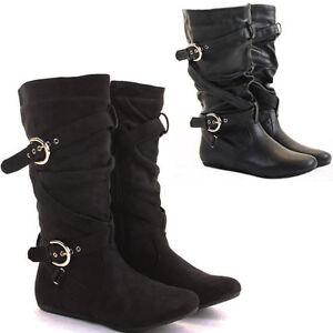 womens black flat heel the knee high suede