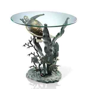 Sea Turtle Tropical Fish End Accent Table Metal Coastal Nautical Ocean  Sculpture