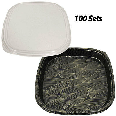 Party Trays Large 14.1x14.1x2 100 Sets Plastic Sushi Boxtakeoutto Go