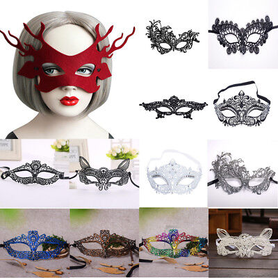 Masquerade Lace Mask Halloween BatWomen Black GD&SL Party Mask Face Accessories ()