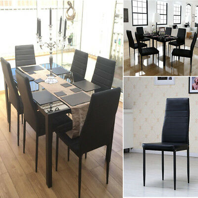 7 pieces Black Glass Dining Table and 6 Chairs Faux Leather Set Dinning Room UK