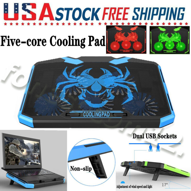 5-Fan Notebook Cooler Laptop Cooling Pad LED Dual USB Adjustable Speed Coolpad
