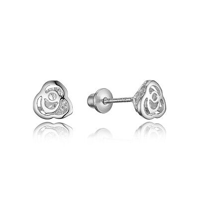 Sterling Silver Rhodium Plated Baby Rose Children Screwback Girls Earrings