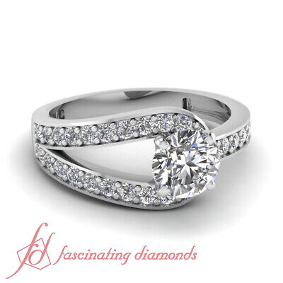 1.30 Ct Round Cut SI2-D Color Diamond Split Band Gold Engagement Rings For -