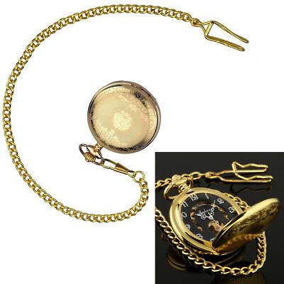 1PCS Mechanical Watch Pocket Skeleton Black + Gold Chain Retro Vintage Wind-Up Black Gold Pocket Watch