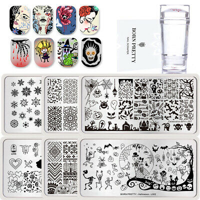 Pretty Halloween Nails (Christmas Halloween BORN PRETTY Nail Stamping Plates Stamper Nail Starter)