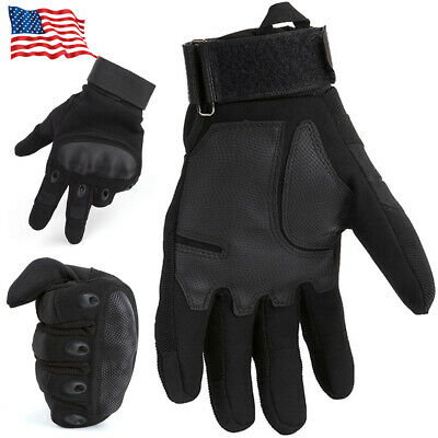Mens Black Hard Knuckle Tactical Motorbike Non-Slip Leather Motorcycle Gloves