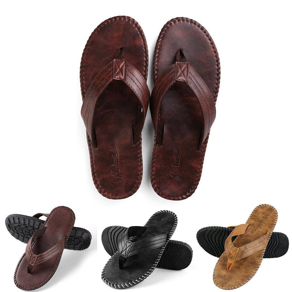 Men's Leather Comfort Thong Flip Flops Summer Beach Sandals