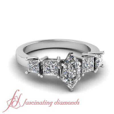 2 Ct Marquise Cut Untreated Diamond Tetrad Facade Engagement Ring 14K Gold GIA