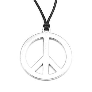 Peace Sign Pendant Charm Necklace with Black Cord 46mm Diameter Hippie