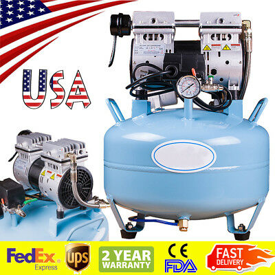 Portable Dental Medical Air Compressor Silent Quiet Noiseless Oilless Usa Ship