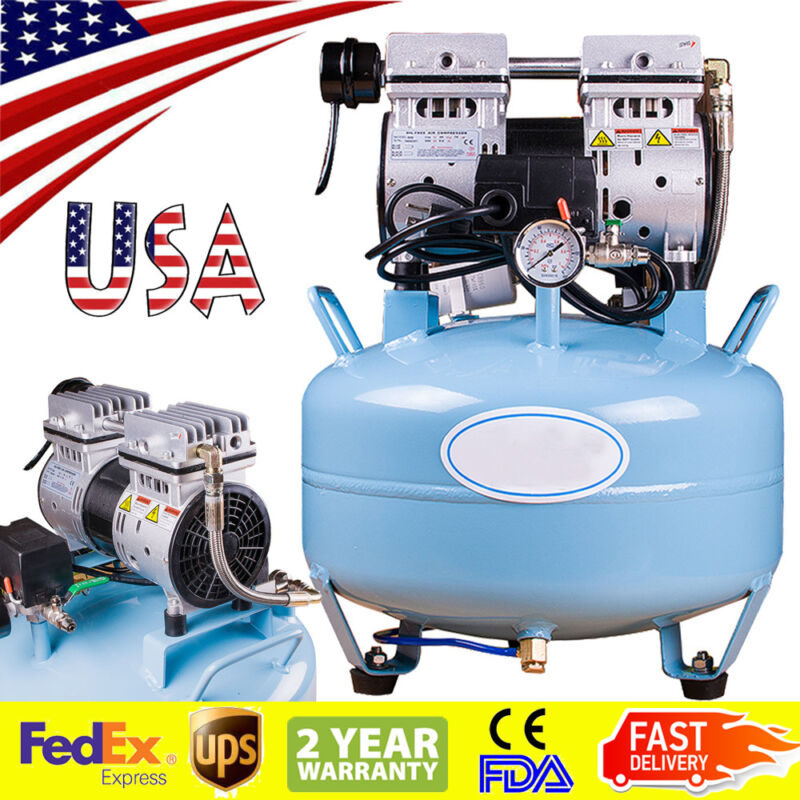 Portable Dental Medical Air Compressor Silent Quiet Noiseless Oilless USA Ship!