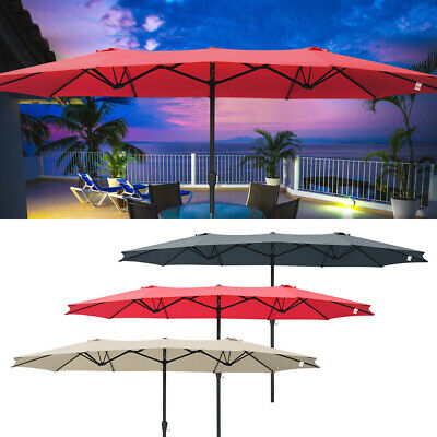 15ft Double-sided Patio Twin Umbrella with Crank Outdoor Gar