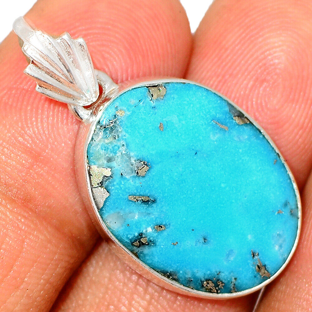 Nishapur Persian Turquoise 925 Sterling Silver Pendant Jewelry BP35098 - $11.99