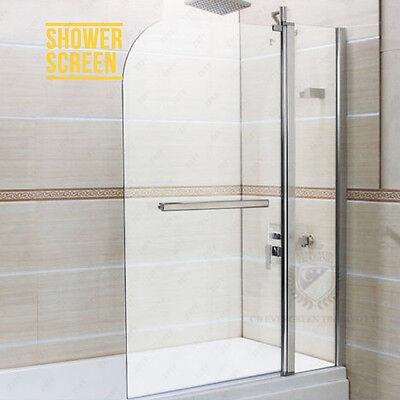 180° Pivot 6mm Tempered Glass Over Bath Shower Screen Handle Panel Wide Door