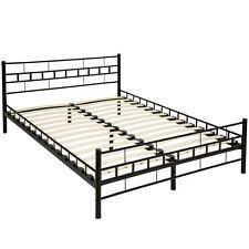 Lit en métal design double 2 places cadre de lit + sommier à lattes 140x200cm no