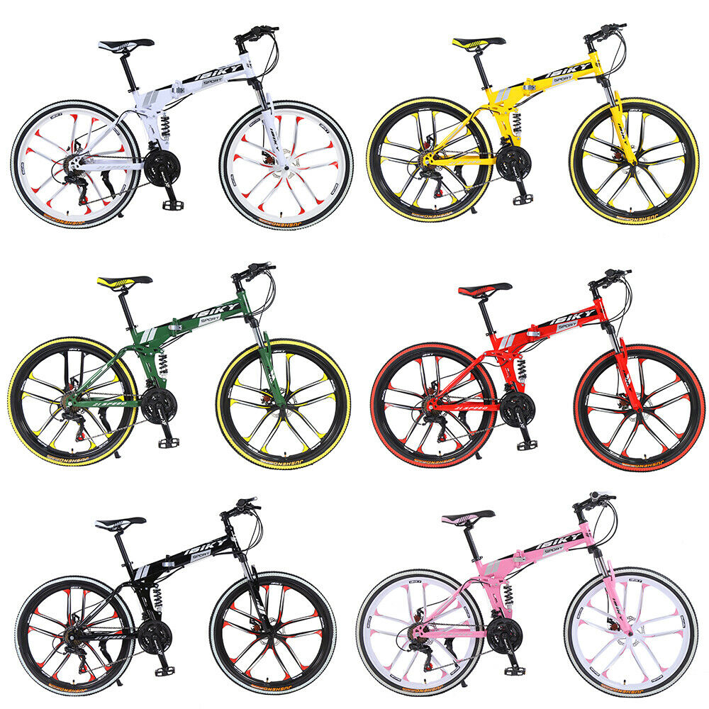 "Mountain bike Foldable Frame 26/"" 21 Speed Folding Bicycle Full Suspension MTB"