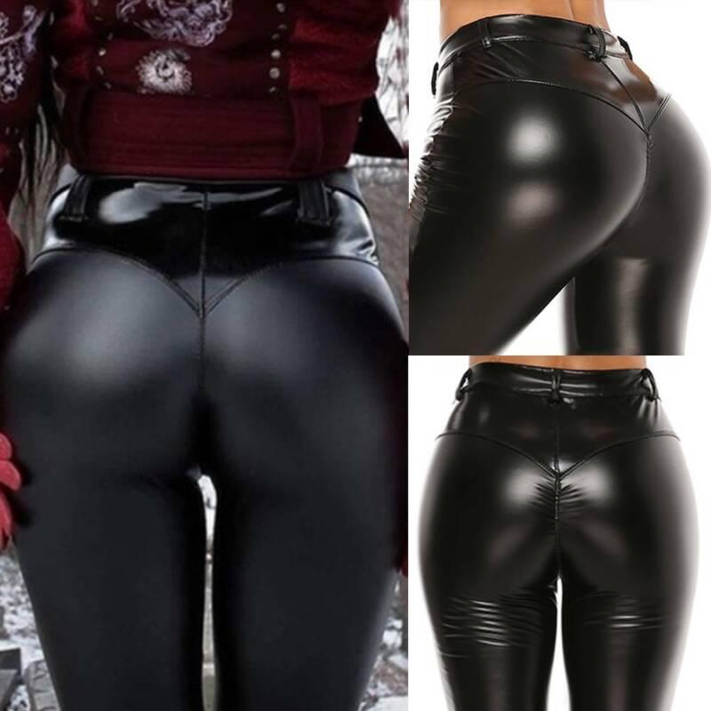 Damen Leggings Metallic Leder Optik Hohe Taille Wet Look Stretch Glanz Push Hose