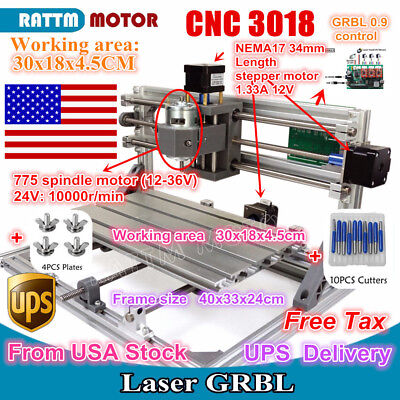 Us 3 Axis Diy 3018 Cnc Router Pcb Wood Cutter Milling Engraving Laser Machine
