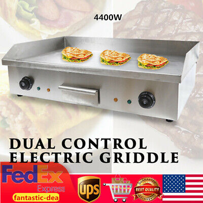 4400w Electric Countertop Griddle Flat Top Commercial Grill Bbq Hotplate Tray Us