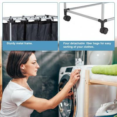 4 Laundry Sorter with Baskets Laundry Hamper Sorter Canvas Rolling Laundry Cart Home & Garden