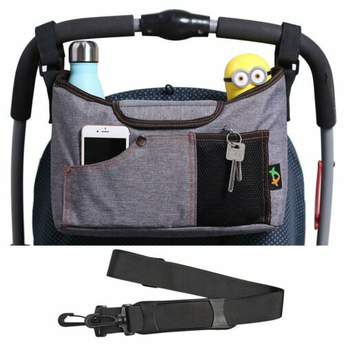 Baby Stroller Organizer Pushchair Safe Console Tray Cup Holder Hanging Bag Grey