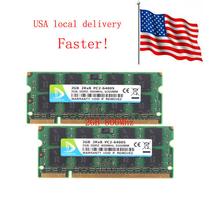 4G 4GB 2X 2GB 2G PC2-6400 DDR2-800MHZ 2RX8 200PIN SODIMM RAM Laptop US STOCK
