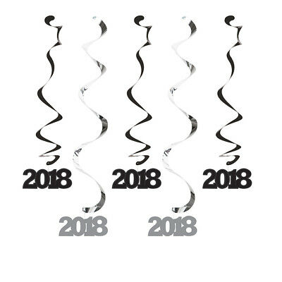2018 Graduation Party Decorations Danglers Hanging Ceiling Black Silver New NIP
