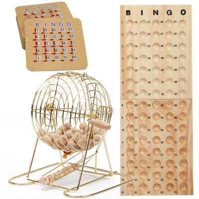 Deluxe Bingo Game Set w/Bingo Cage, Bingo Balls, 8 Shutter Bingo Cards, Board - Bingo Game Set
