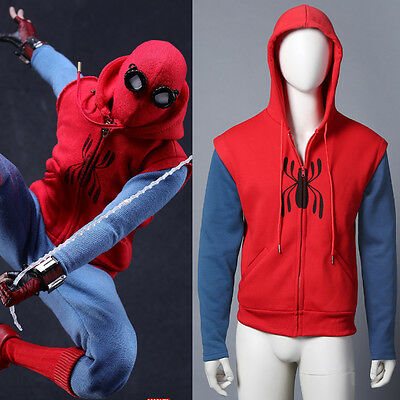 spiderman homecoming Cosplay Kostüm Hoodie Herren Kinder Sweatshirt jacke Neu