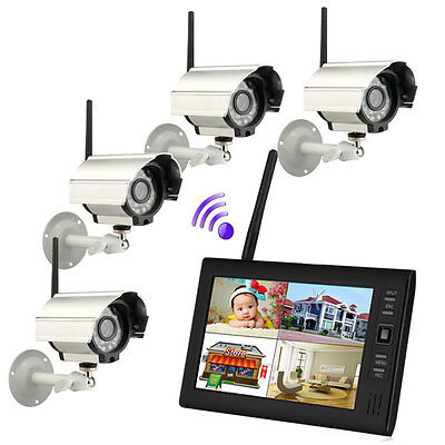 Wireless 7 Tft Lcd 2 4G 4Ch Home Security System Monitor Night Vision Camera Us