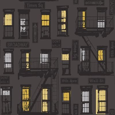 NEW RASCH PORTFOLIO NEW YORK URBAN MOTIF BLACK SILVER PRINT WALLPAPER 281507