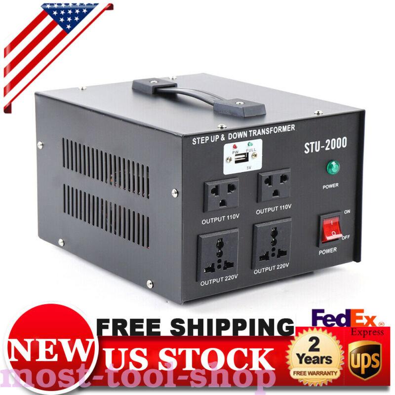 2000 Watt Voltage Converter Transformer-Step Up Down USB Jack 110V/220V DC