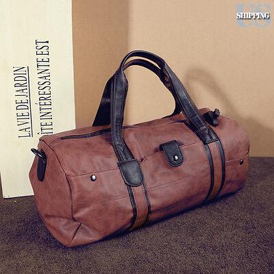 Men Leather Duffle Bag Shoulder Handbag Travel Bag Weekend Overnight Bag  Brown 8f438b434e356