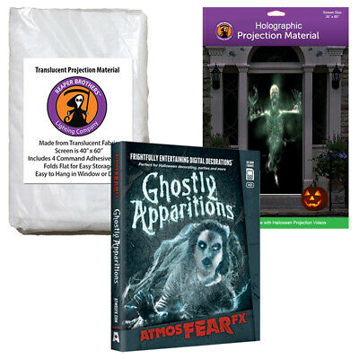 AtmosFearFX Ghostly Apparitions Halloween DVD + 2 Rear Projection Screens (RD)