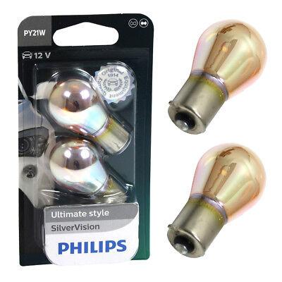 Philips Silver Vision Set Chrom Blinkerbirnen für Scheinwerfer PY21W Da Glas Base