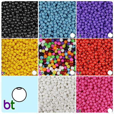 Plastic Beads (BeadTin Opaque 6mm Round Plastic Craft Beads (500pcs) - Color)