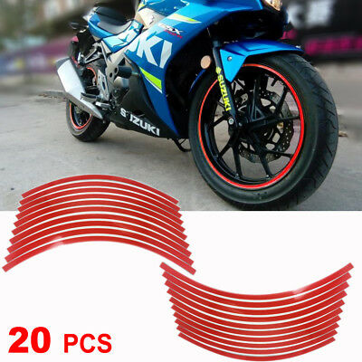 20 Strips Reflective Motorcycle Rim Stripe Sticker Wheel Decal Conspicuity Tape