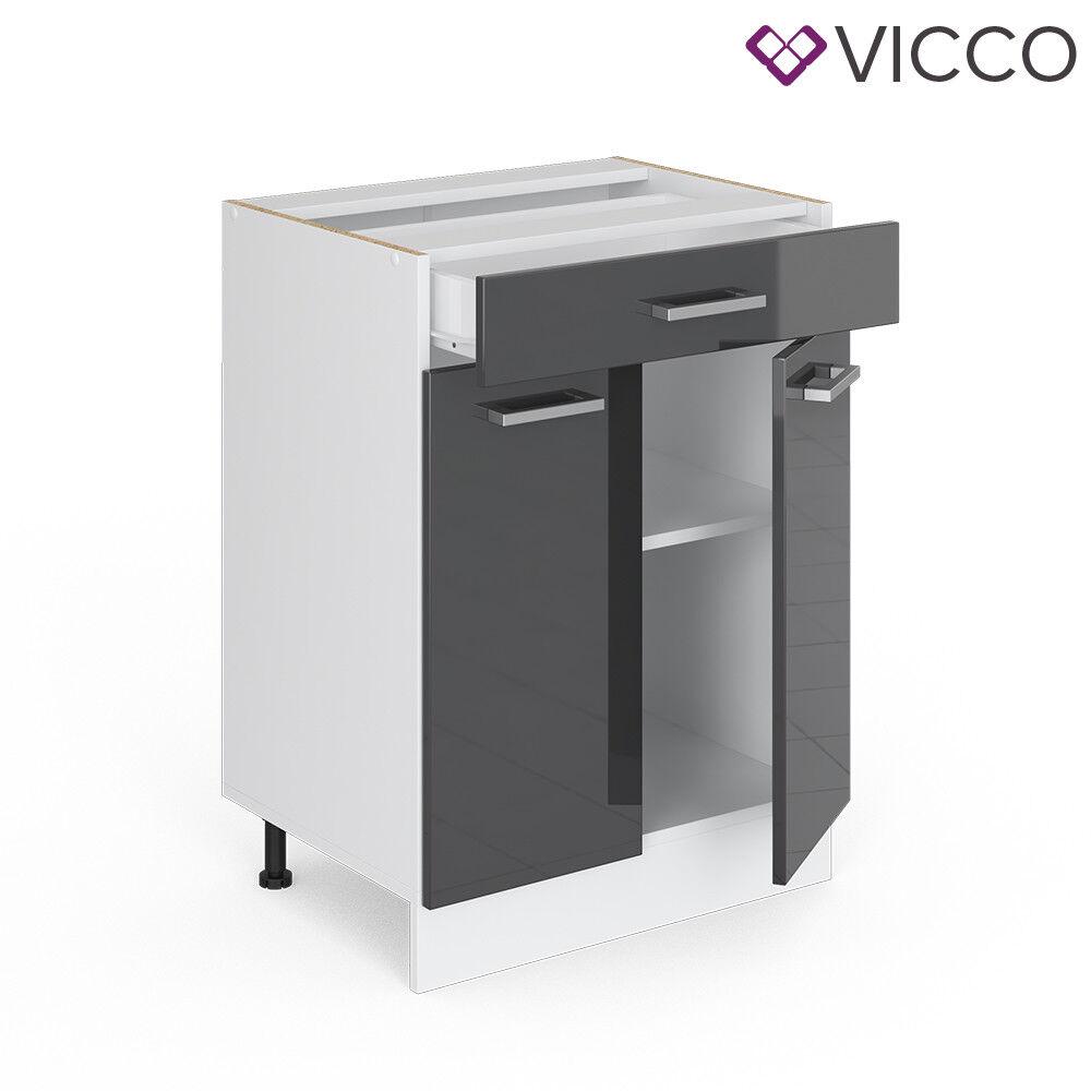 VICCO Küchenschrank Hängeschrank Unterschrank Küchenzeile R-Line Schubunterschrank 60 cm anthrazit
