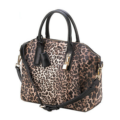 CHIC LEOPARD HANDBAG TOTE PURSE ANIMAL PRINT FAUX LEATHER NEW~10016239